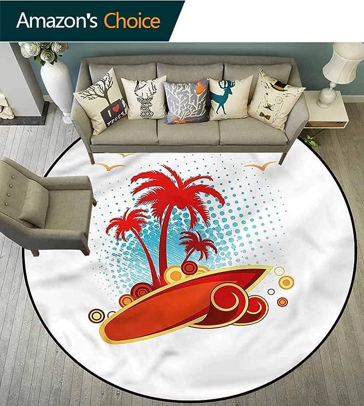 RUGSMAT Beach Round Rug Exotic Halftone Backdrop Foam Mat Bedroom Decor Diameter 24