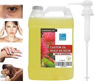 Aceite de Ricino Prensado en frío 1000 ml Con dispensador- 100% Natural Hidratante Endurecedor Uñas Crecimiento Cabello ...