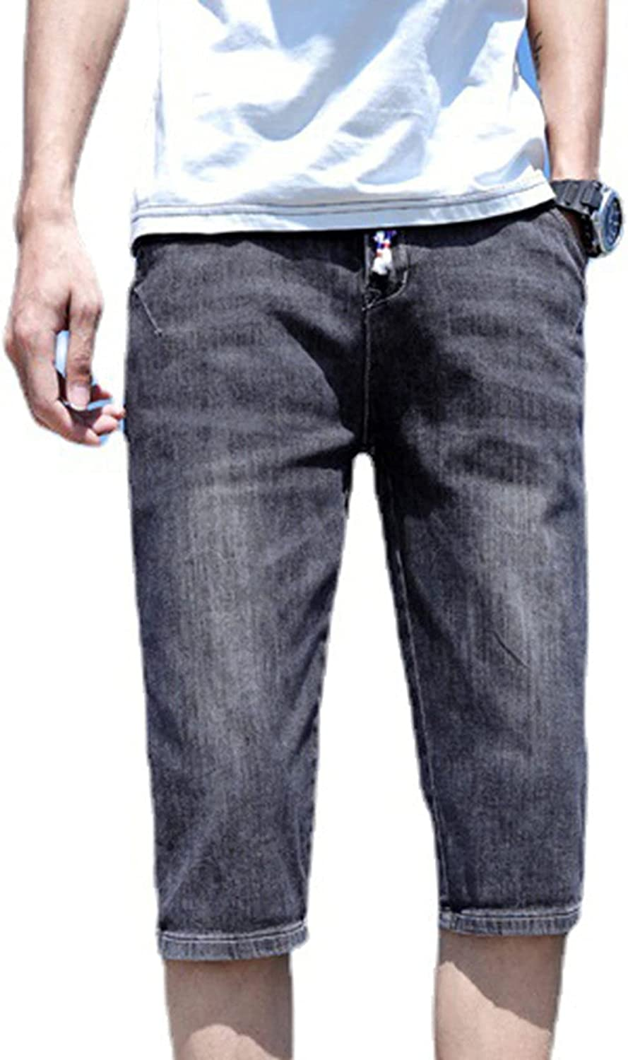 Denim Shorts for Men's Summer Thin Straight Skin-Friendly Pants Slim Stretch Cropped Trousers Not Easy to Fade Jeans