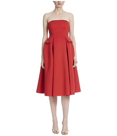 Badgley Mischka Strapless Scuba Runway Dress with Belt (Bright Siam) Women