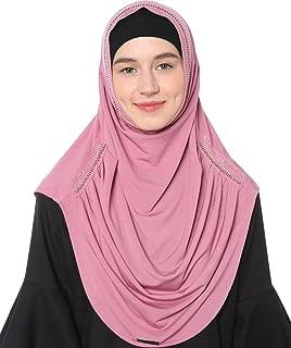 Women's Muslim Rhinestones Solid Jersey Headscarf Instant Hijab Ready to Wear Hijab