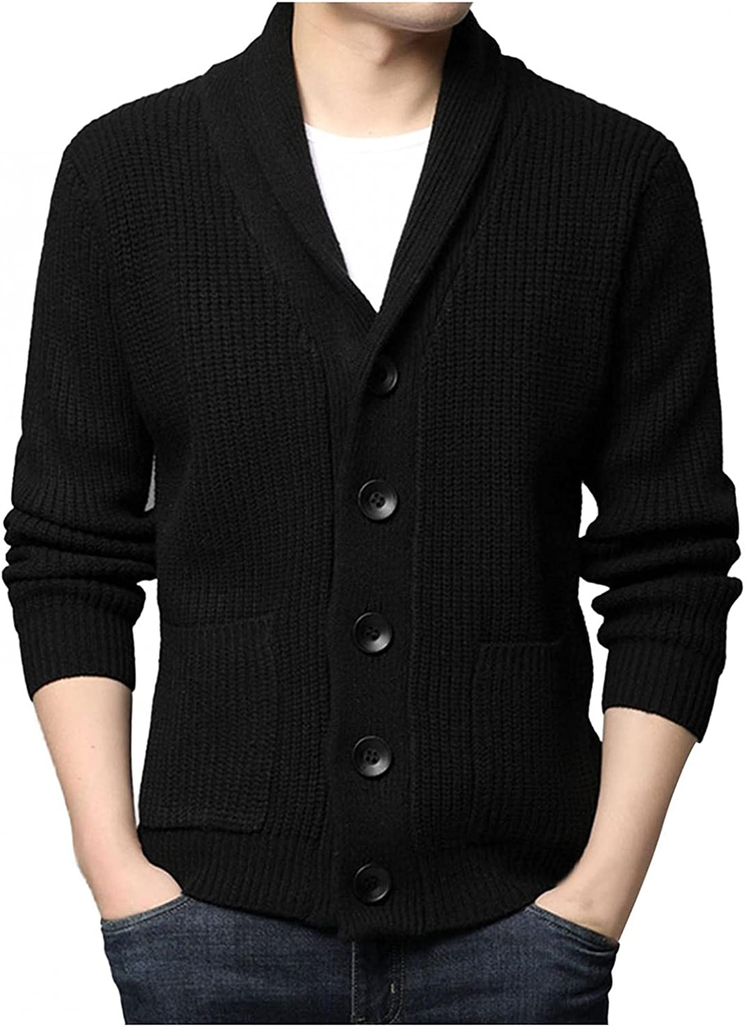 Mens Cardigan, Mens Casual Cardigan Cable Knitted Sweater Solid Color Button Down Relax Fit V-Neck Long Sleeve Coats Pocket
