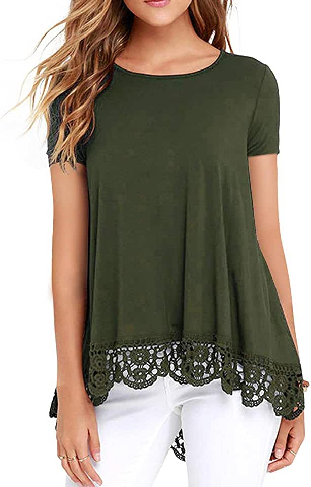 ZEGOLO Women's Tops Short Sleeve Lace Trim O-Neck A-Line Loose Casual T-Shirt Tunic Blouses for Leggings Army Green X-Large