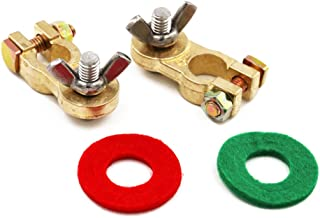 UTSAUTO Thickened Brass Battery Terminal Set 2Pcs Positive & Negative Car Battery Terminal Connectors Clamp For Truck Van Marine Boat Max Current 300A