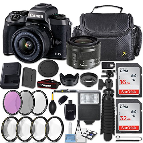 Canon EOS M5 24.2MP Mirrorless Digital Camera + EF-M 15-45mm f/3.5-6.3 is STM Lens (Graphite) + 48GB Memory + Filters & Macros + Quality Spider Tripod + Slave Flash + Professional Accessory Kit