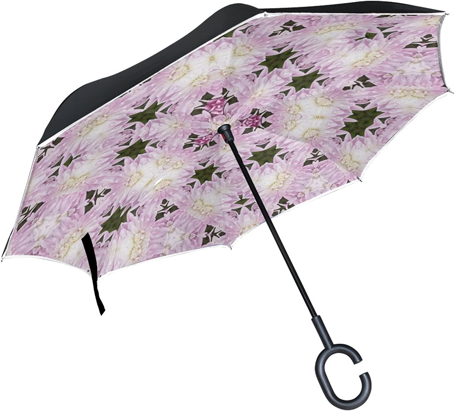 Double Layer Ingreened Flower Nature Plant Floral color Umbrellas Reverse Folding Umbrella Windproof Uv Predection Big Straight Umbrella for Car Rain Outdoor with CShaped Handle