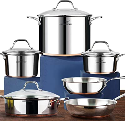 HOMICHEF Nickel Free Stainless Steel Cookware Set - Best non toxic stainless steel cookware