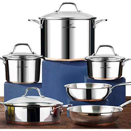 HOMICHEF 10-Piece Nickel Free Stainless Steel Cookware Set Copper Band - Nickel Free Stainless Steel Pots and Pans Set - Healthy Cookware Set Stainless Steel - Non-Toxic Induction Cookware Sets