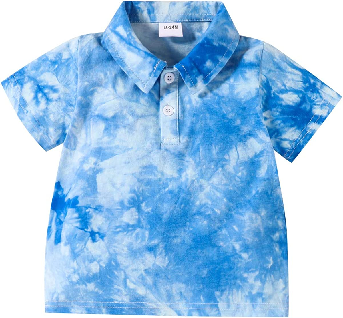 GOOCHEER Toddler Baby Boy T-Shirt Short Sleeve Polo Shirt Stand Collar Tie Dye Tops Tees Summer Casual Outfits Clothes