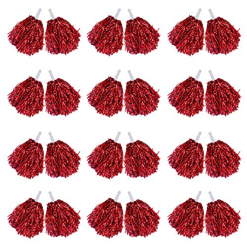 Paquete de 24 pompones de animadora, 1 docena de asas de papel metálico de aluminio para animadoras pompones para niños, baile, deportes, entrenadores de juego, vestido de fiesta (rojo)