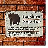 Fsdva 12'x16' Metal Sign Bear Warning English and French Wall Decors