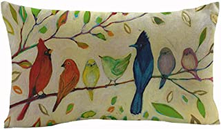 Oil Painting Various Birds Stand On Tree Branch Cotton Linen Throw Lumbar Waist Pillow Case Cushion Cover Home Office Decorative Rectangle 12 X 20 Inches
