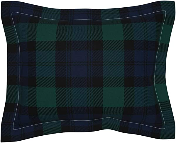 Roostery Tartan Flanged Pillow Sham Blackwatch Plaid Black Watch Preppy Classic By Peacoquettedesigns 100 Cotton Sateen
