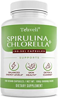 Organic Spirulina & Cracked Cell Chlorella Chlorophyll Capsules- Supports Healthy Immune System & Energy Boost- Blue Green...