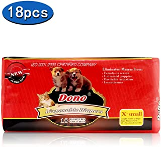 DONO Disposable Pet Diapers Female Dogs 2018 Super Absorbent Soft Heating Pee Diapers Liners XXS-M, Including 14-20 Puppy Diapers Dogs Cats …