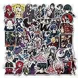 YACHAO 50 Uds Kuroshitsuji Dibujos Animados Anime Graffiti Pegatinas Equipaje Ordenador monopatín Pegatinas Decorativas Impermeables