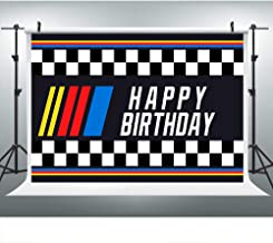 Yellow Red Blue Stripes Photography Backdrop for Nascar Birthday Party, 9x6FT, Children Kids Adults Fans Black White Checkered Background, Photo Booth Studio Props LHLU363