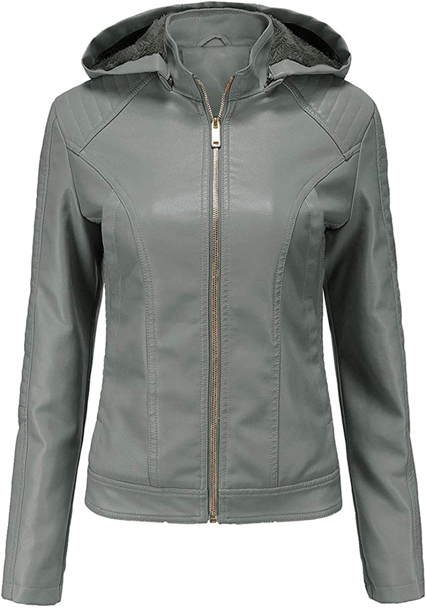 GGUHHU Women's Fleece Lined Hooded Faux Leather Jacket Full Zipper Quilted Thick Coat