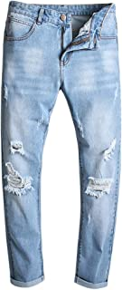 YOUTHUP Mens Blue Jeans Straight Fit Casual Ripped Denim Trousers Anti-Wrinkle Jeans All Waist