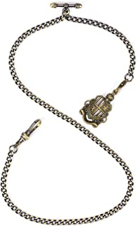 ManChDa Albert Chain Pocket Watch, T-bar Chain with Shield Pendant, Curb Link Chain 2 Hook Antique Fob T Bar for Men(Bronze)