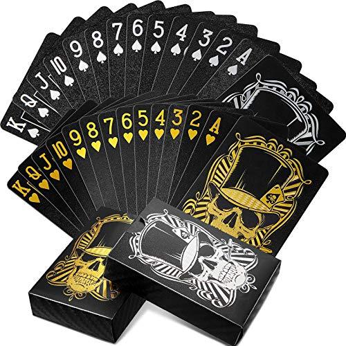 2 Barajas Cartas Impermeables de Póquer Naipe Negro Cartas de Poker PET...