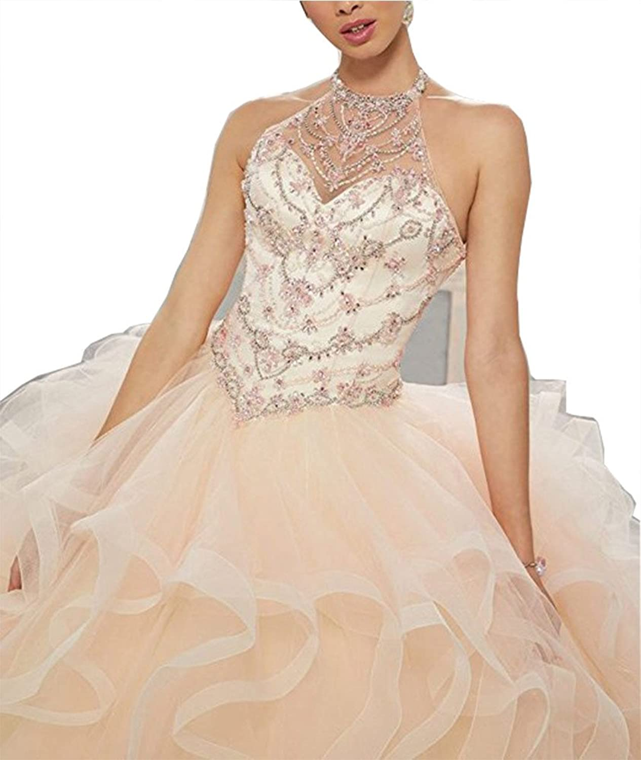 Chenghouse Ball Gown Quinceanera Laceup Back ONeck Prom Evening Dresses