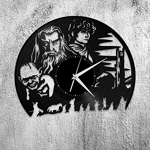 Reloj de pared de vinilo Lord of the Rings regalo único para amantes de las películas, decoración del hogar, diseño vintage, oficina, bar, decoración del hogar