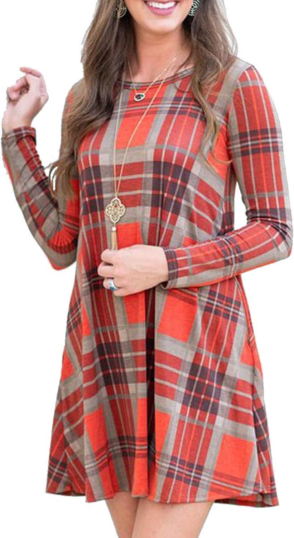 BOOSOULY Ladies Casual Striped Splice TShirt Mini Dress with Pockets orange L