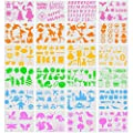 Mity rain 24 Pieces Kids Drawing Stencils Set - Plastic Painting Template with Over 300 Shapes to Draw Imaginative Children's Stories, DIY Creative Art Set for Boy Girl Reusable