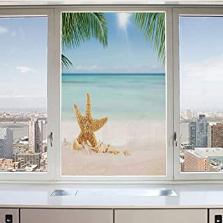 3D Decorative Privacy Window Films,Graphic of Summer Sandy Beach with Majestic Starfish on Tropical Hawaiian Beach Art,No-Glue Self Static Cling Glass film for Home Bedroom Bathroom Kitchen Office 17.