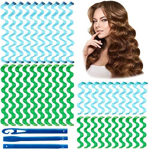 40 Stück Lockenwickler Locken Styling, keine Hitze Wasser Welligkeit Magic Hair Roller Heatless Wave Style mit 3 Stück Styling Haken für Frauen Die meisten Frisuren Styling Tools (30CM & 55CM)