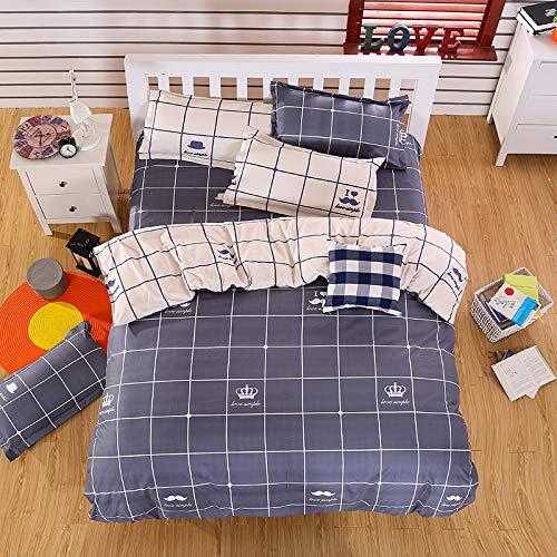 CYGJ CYGJThree-piece or four-piece set of soft and comfortable cotton beddingBlack grid1.2m three-piece set