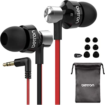 Betron DC950 Earphone, Noise Isolating, Powerful Bass, Replaceable Earbuds, Portable in Ear Headphones, Compatible with iPhone, iPad, iPod, Samsung, MP3 Players and Android Devices, Black