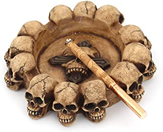 Mopoq Personalized cross skull ashtray round household ashtray cross-border creative home decoration resin crafts