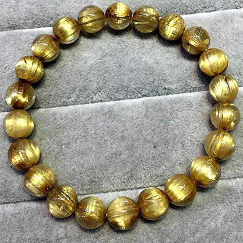 LKBEADS 1 Strands Natural Titanium Gold Hair Rutile Quartz Cat's Eye Stretch Bracelet Round Beads 8.5mm 04517 Code-HIGH-30046
