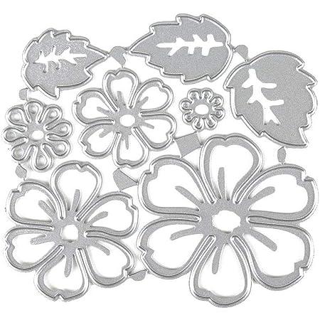 Card Making Set of 9 Cutting Dies Stencil Metal Template Molds DaKuan Butterflies Flowers Leaves Embossing Tools for Scrapbook Album Paper DIY Crafts