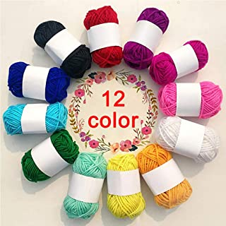 Cocity 12 Assorted Colors Rainbow DIY Soft Acrylic Yarn, Perfect for Hand Needlework Knitting and Crochet Woven Project, G...