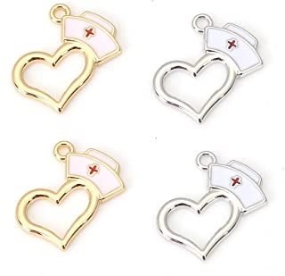 Nurse Cap Pendant Charms, 20 Pack Enamel and Heart, 3/4 x 5/8 Inch (10 Silver Tone, 10 Gold Tone)