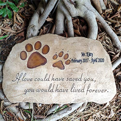 somiss Pet Memorial Stones,Personalized Paw Prints Dog Memorial Stones Stepping Stones Outdoors or Indoors for Garden Backyard Grave Markers