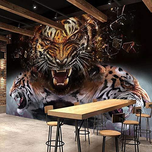 HGFHGD Papel tapiz fotográfico 3D autoadhesivo, póster de tigre, pintura de pared, Retro nostálgico, Bar, restaurante, sala de estar, dormitorio, Mural, adhesivo para pared