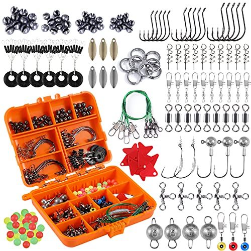PLUSINNO Fishing Accessories Kit, 212pcs Bass/Trout Fishing Tackle Kit with Tackle Box Including Fishing Hooks, Swivel Snap, Weights Sinkers, Saltwater Freshwater Fishing Gear Equipment Stuff