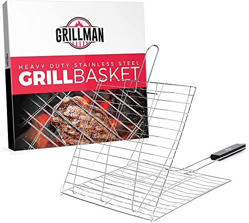 Grillman Heavy-Duty Stainless Steel Grill Basket with 180 Degree Hinged Lid & Handle