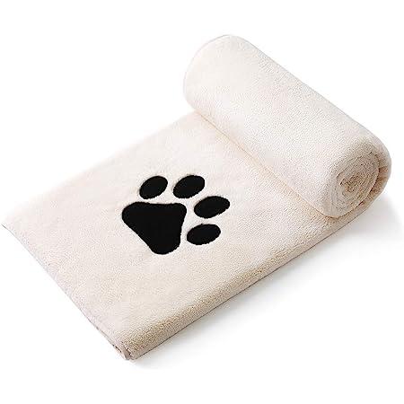 Perco ペット用タオル 超吸水 厚手 マイクロファイバー 犬 猫 体拭き (75cmx127cm, ライトベージュ)