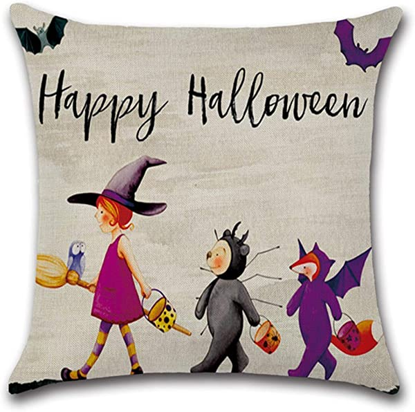 SPXUBZ Little Witch Halloween Decorations Pumpkin Boo And Animal Party Flax Throw Pillow Cover Home Decor Nice Gift Square Indoor Linen Pillowcase Standar Size 26x26 In Two Sides