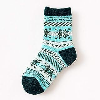 QWERGLL, Calcetines de Invierno para niños con patrón de Tejido Jacquard para niños y niñas, Calcetines Gruesos y cálidos, Calzado de Navidad para bebé