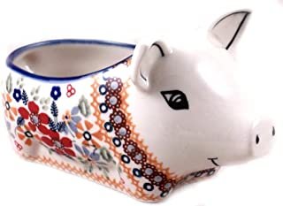 Polish Pottery Salt Pig Bowl in Pattern DPLC or Christmas Posies