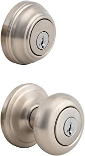 Kwikset 992 Juno Entry Knob and Double Cylinder Deadbolt (Keyed on both side) Combo Pack featuring SmartKey in Satin Nickel