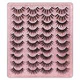 20 Pairs False Eyelashes 3D Faux Mink Lashes Natural Look Wispy Fake Eyelashes ALPHONSE 16-20MM Fluffy Volume Long Thick...