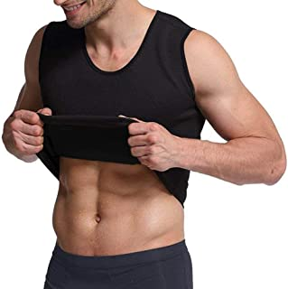 HEXIN Mens Bodyshaper Slimming Top Workout Compression Vest Zipper Elastic Shapewear