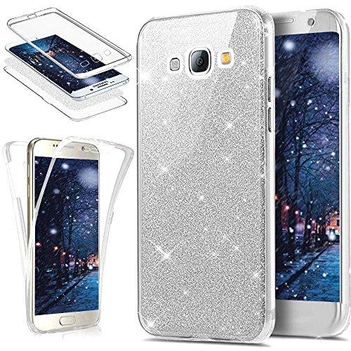 Uposao Kompatibel mit Galaxy S3 Hülle Vorne und Hinten 360 Grad Case Kristall Bling Glänzend Glitzer Durchsichtig Klar Transparent TPU Silikon Schutz Schutzhülle Handyhülle,Silber